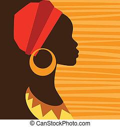 arcél, earrings., leány, árnykép, afrikai