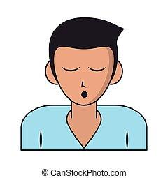 arcél, ember, karikatúra, alvás