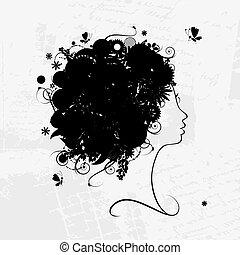 arcél, frizura, árnykép, tervezés, női, virágos, -e