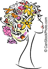 arcél, frizura, tervezés, női, virágos, -e