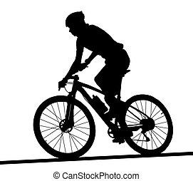 arcél, hegy, árnykép, versenyfutó, bicikli, hím, lejtő