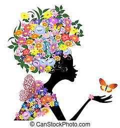 arcél, lepke, leány, virág
