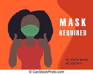 arc, coronavirus, maszk, kívánt, cégtábla., ellen, oltalmazó, lépés, covid-19