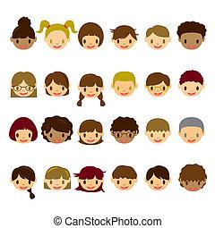 arc, gyerekek, állhatatos, ikonok