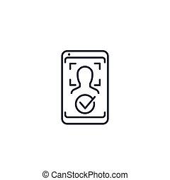 arc, ikon, azonosítás, elismerés, biometric