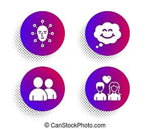 arc, ikonok, emberek., elismerés, csevegés, szeret, cégtábla., biometria, párosít, használók, mosoly, komikus, set., arcápolás, vektor