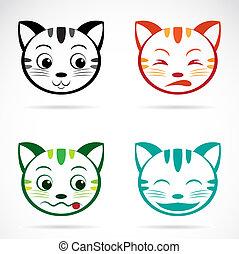 arc, kép, vektor, macska