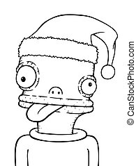 arc, komikus, vektor, karácsony, ábra