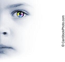 arc, térkép, szem, színes, gyermekek