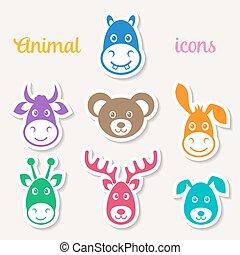 arc, vektor, színes, állat icons