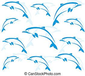 arcmás, tapéta, delfinek