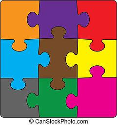 arcszín, puzzles., ábra, vektor