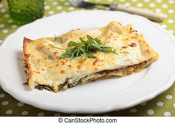 arugula, tányér, lasagna