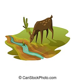 aszály, ökológia, warming., fogalom, halikra, dry., víz, ivás, poster., globális, majdnem, figyelmeztetés, folyó, földdel feltölt