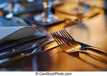 asztal, állhatatos, étkező