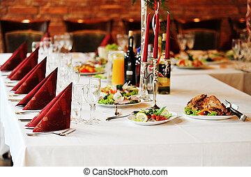 asztal, élelmiszer, ital