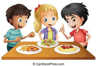 asztal, élelmiszerek, gyerekek, őrzés