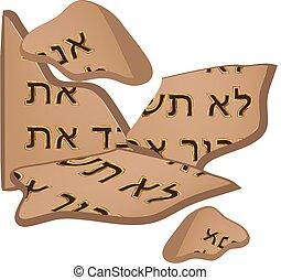 asztal, biblia, 10, elszigetelt, parancsolat, torah., törött, háttér., vektor, tabletta, ábra, hebrew., covenant., moses.