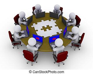 asztal, businessmen, oldás, mindenfelé, kutató