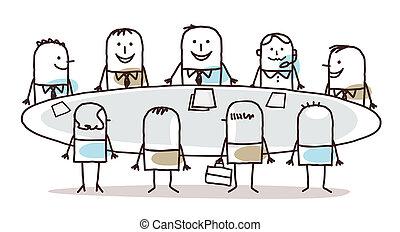 asztal, csapatmunka, mindenfelé, ügy, karikatúra