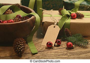 asztal, erdő, címke, tehetség, ünnepek