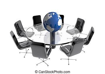 asztal, földgolyó, kerek, hivatal
