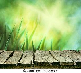 asztal, fű