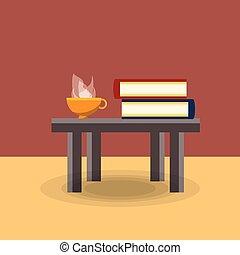asztal, kávécserje, előjegyez