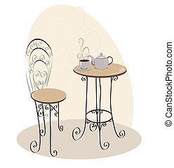 asztal, kávéház, francia