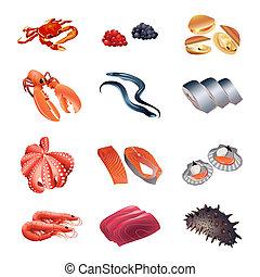 asztal, kalória, tenger gyümölcsei, fish
