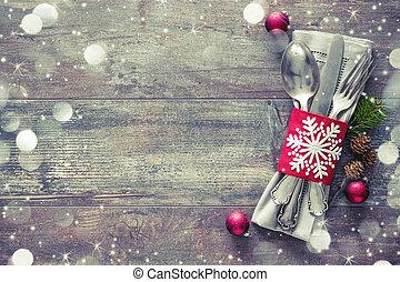 asztal letesz, állás, karácsony