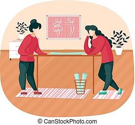 asztal, mód, model., öltözék, rajzoló, varrónő, motívum, gyártás, tanácskozik, külső van