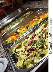asztal, növényi, finom, büfé