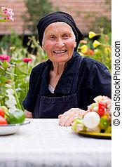 asztal, nő, öregedő