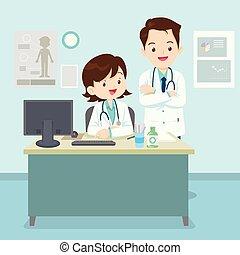 asztal, orvos, ülés
