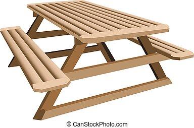 asztal, piknik