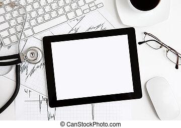 asztal, számítógép, tabletta, orvos