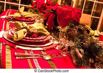 asztal, vacsora, karácsony
