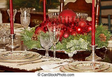 asztaldísz, ebédlőasztal, karácsony, piros, hivatalos