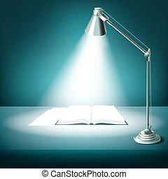 asztali lámpa, könyv, kinyitott, íróasztal