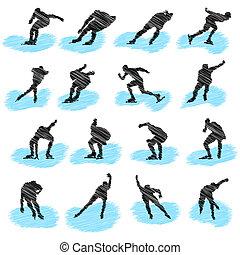 atléta, állhatatos, grunge, körvonal, ice-skating