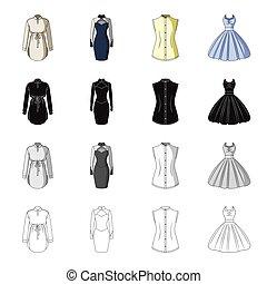 atlétatrikó, állhatatos, köntös, monochrom, öltözet, öltözet, ruha, mód, ikonok, labda, fekete, részvény, este, jelkép, web., ábra, women's, gyűjtés, karikatúra, gown., áttekintés, vektor