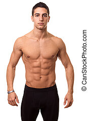 atlétikai, shirtless, ember