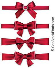 atlaszselyem, bows., ribbons., tehetség, piros