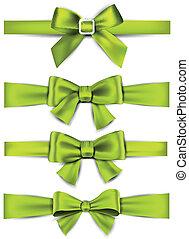 atlaszselyem, bows., ribbons., tehetség, zöld