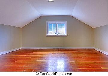 attika, keményfa, kicsi, szoba, emelet