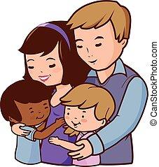 atya, boldog, vektor, anya, children., family., ábra