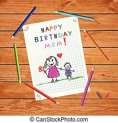 atya, fiú, születésnap, mom., csecsemő, rajz, boldog