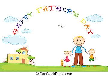 atya, gyerekek, atya, nap, háttér