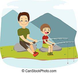 atya, halászat, fiú